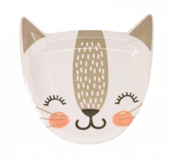 White Cat Face Dessert Plates