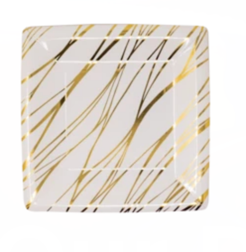 Gold Striped Dessert Plates