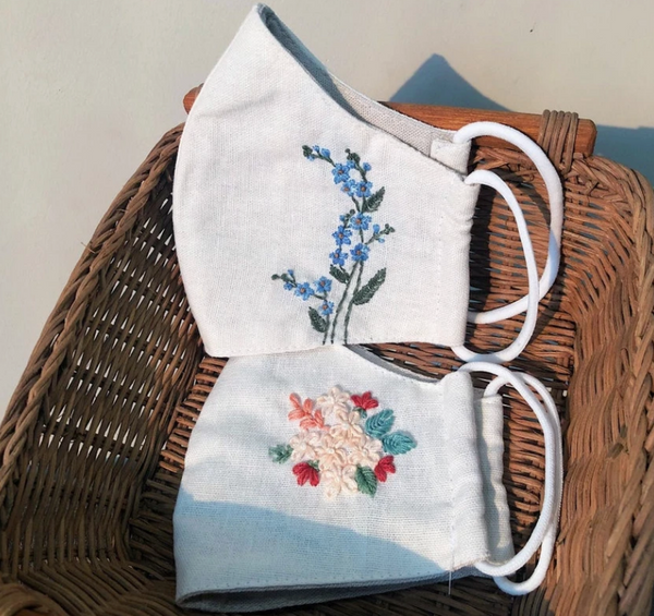Flower Hand Embroidery Linen FaceMask