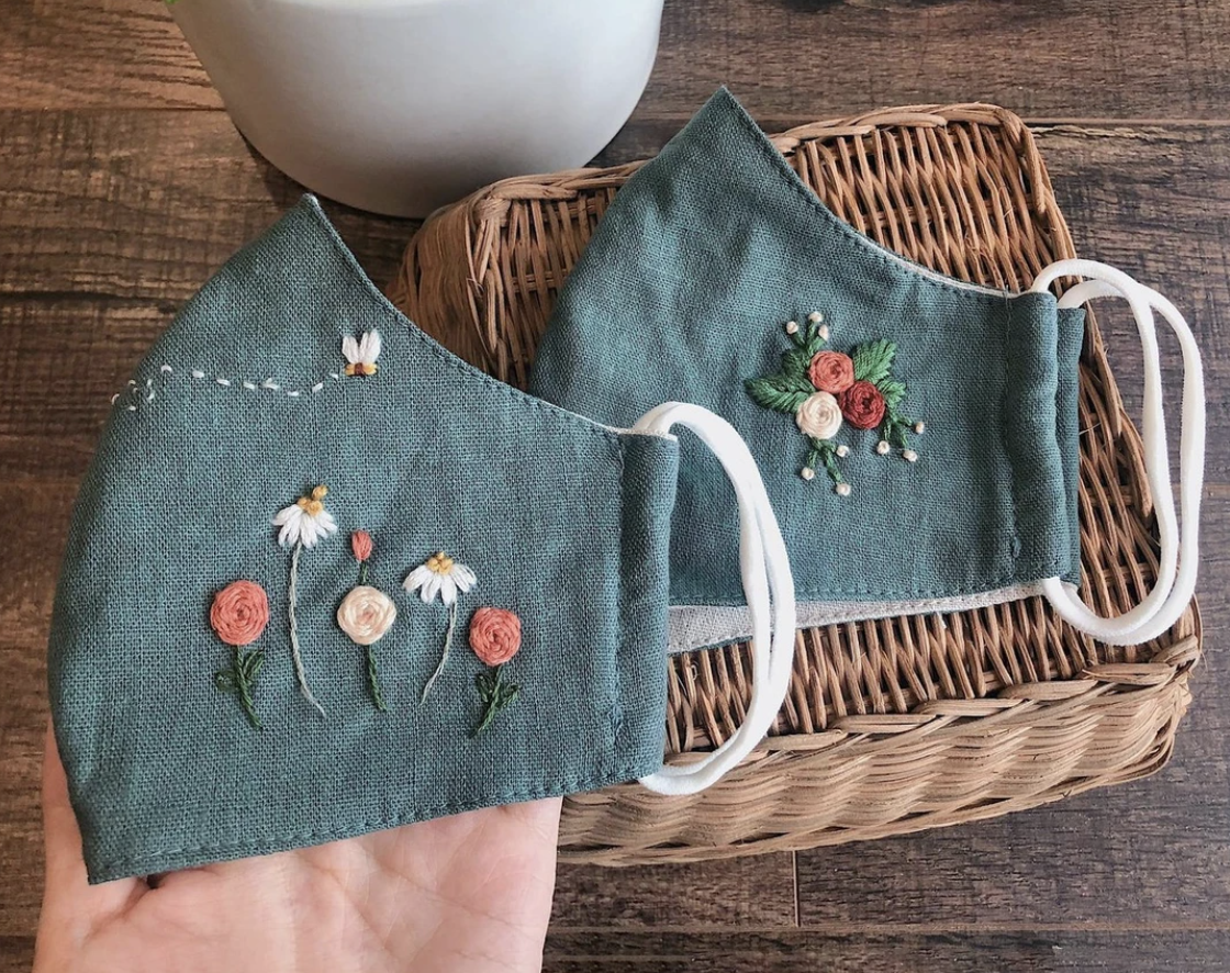 Breathe Handmade Embroidery Linen Face Mask