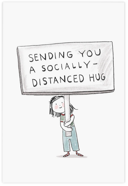 Socially Distanced Hug Postcard