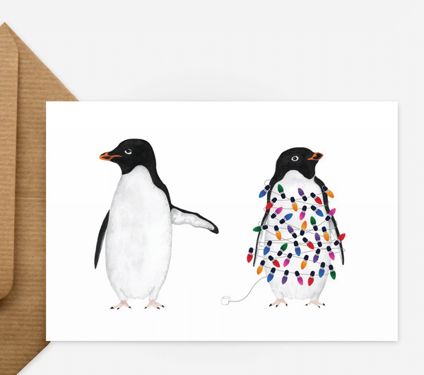 Festive Penguin Lights Card