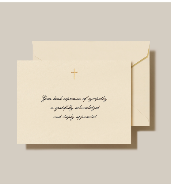 Engraved Gold Cross Sympathy Acknowledgement Note - S/10