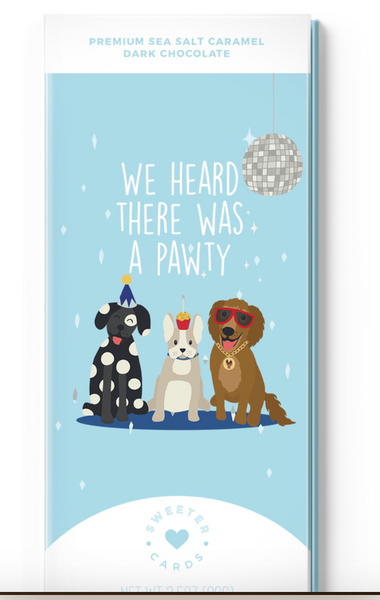 Dog Lover Birthday Card with Chocolate Bar inside