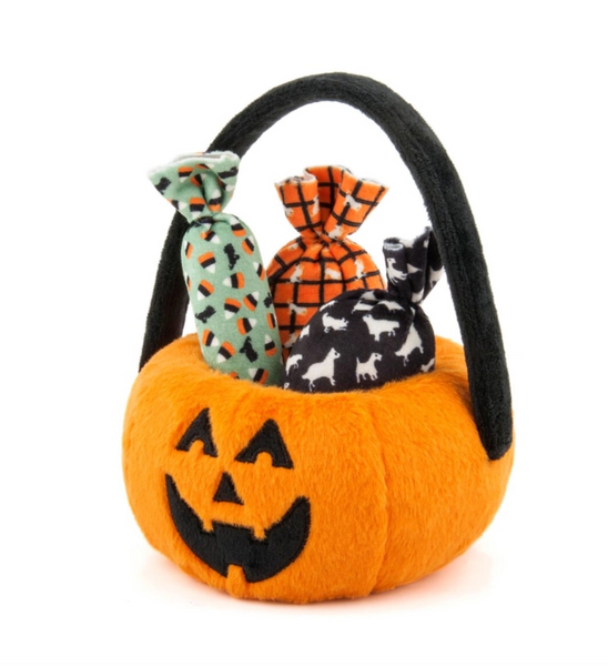 Howl-o-ween Pumpkin Basket Dog Toy