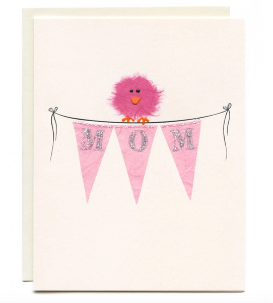 """MOM"" Bird on Pink Banner Card"
