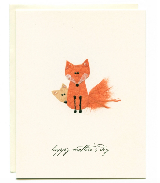 """Happy Mother's Day"" Mom and Baby Fox Card"