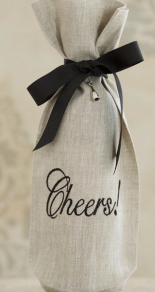 Cheers! Linen Wine Bag