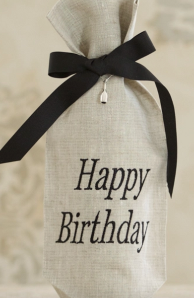 Happy Birthday Linen Wine Bag