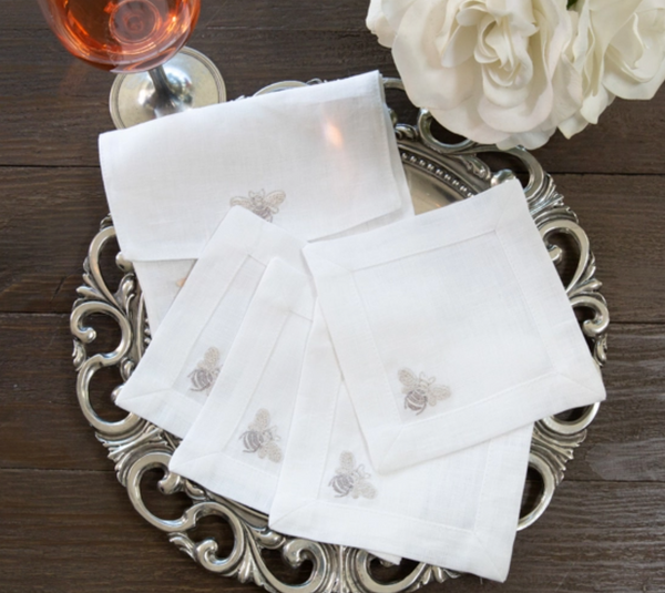 Bumble Bee Linen Cocktail Napkin S/4