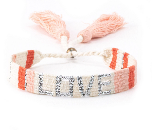 Atitlan Love Bracelet - White, Peach & Orange