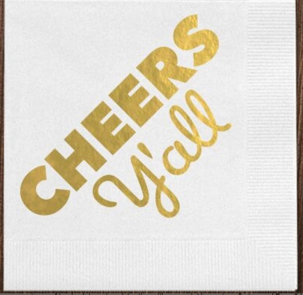 White Cheers Y'all Napkins