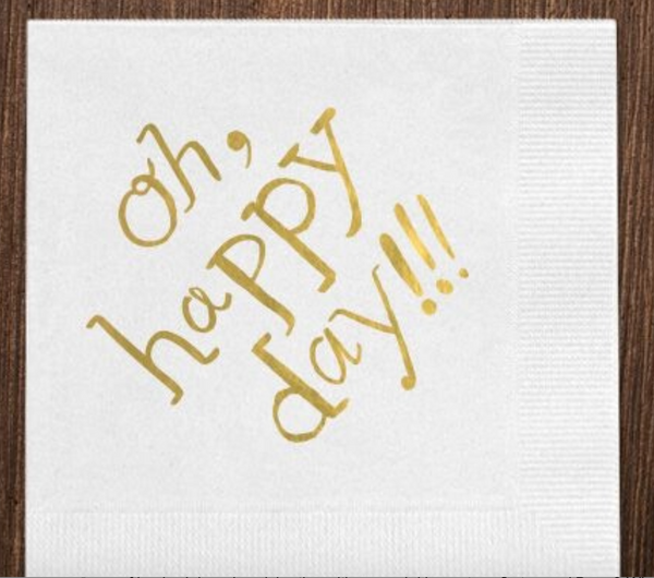 White Oh Happy Day Napkins