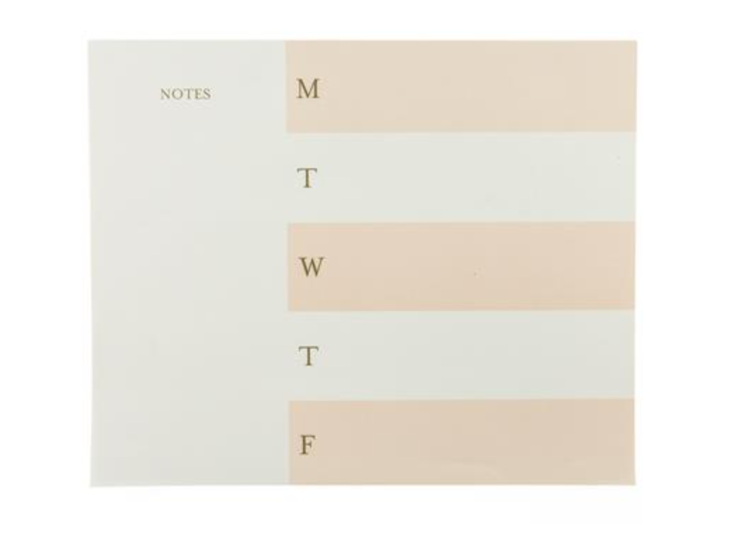 Blush Stripe Weekly Notepad