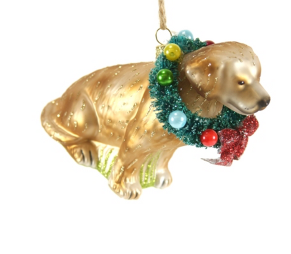 Festive Yellow Lab Ornaments
