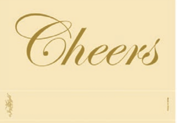 Cheers on Ivory, Matte, Gold Foiled, Embossed, Matchbox 4""