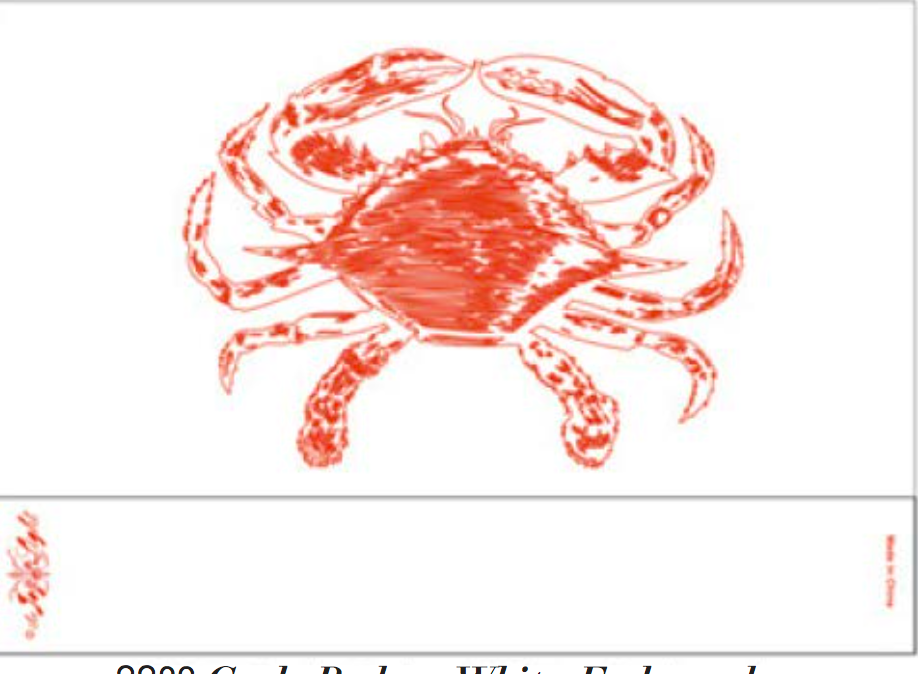 Crab, Red on White, Matte, Embossed with Gloss Matchbox 4""