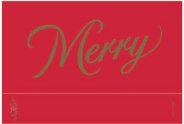 Merry on Red, Matte, Gold Foiled, Embossed, Matchbox 4""