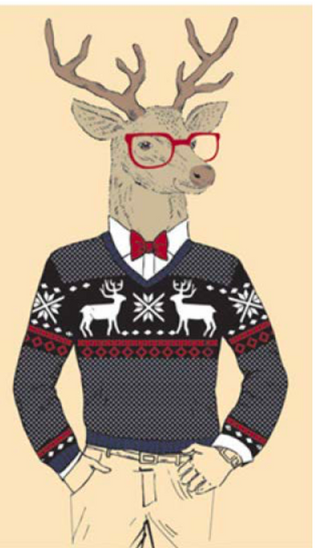 Holiday Deer Casual, Matte & Embossed Matchbox 4""