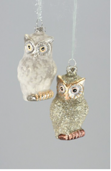 Glittered Owl Ornament