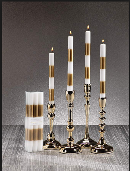 Modern & Festive Gold Formal candles- S/6