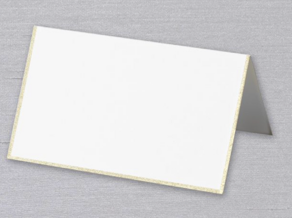 Pearl White /Engraved Gold Border Place Card - S/10