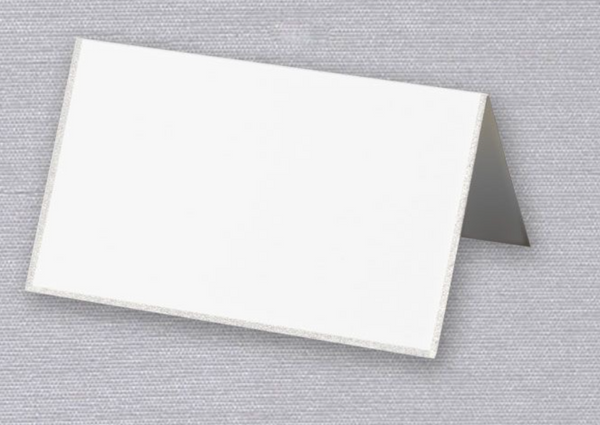 Pearl White /Engraved Platinum Border Place Card - S/10
