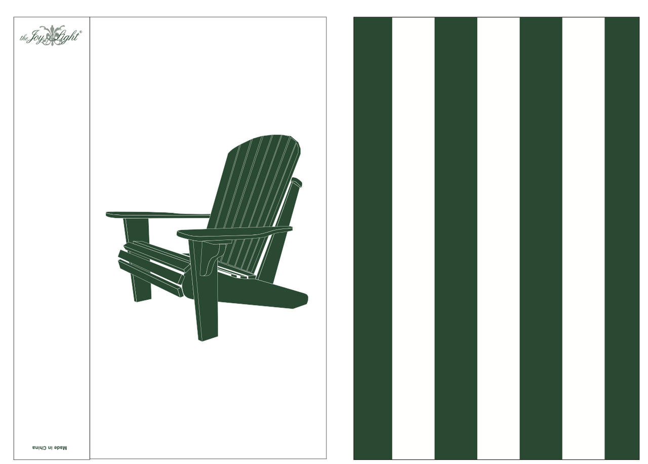 Adirondack Chair Green and White Embossed  Matchbox 4""