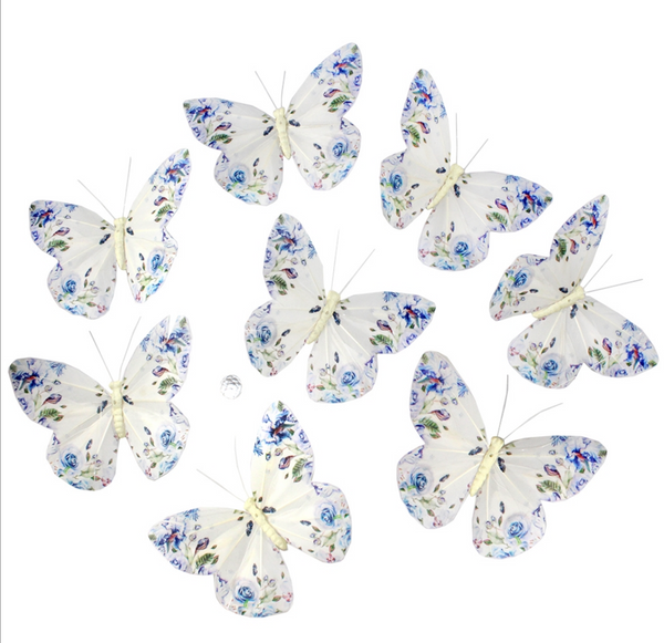 White/Blue Fantasy Roses Butterfly Garland