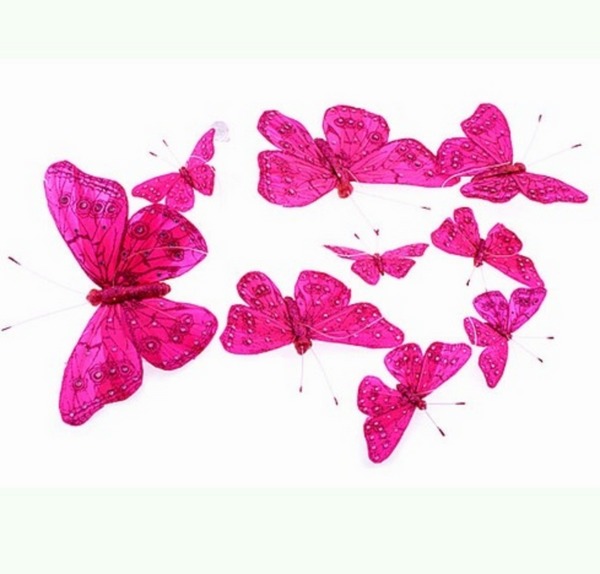 Jumbo Hot Pink w/Jewels Butterfly Garland
