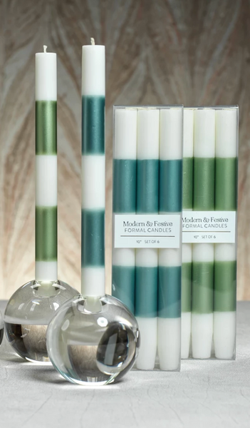 Modern & Festive Green Formal candles- S/6