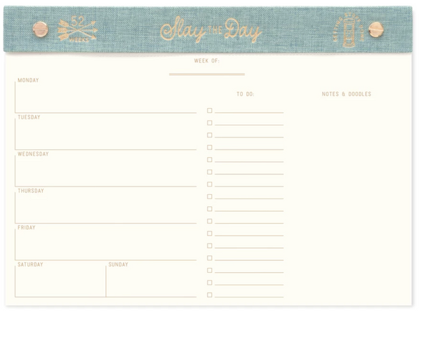 Sea-Foam Slay the Day Weekly Desk Planner