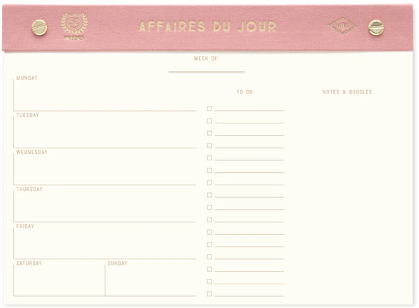 Dusty Pink Affaires Du Jour Weekly Desk Planner