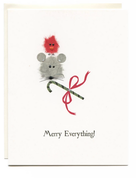 """Merry Everything"" Bird, Mouse and candy Cane"
