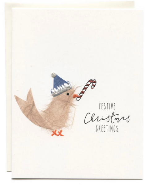 """Festive Christmas Greetings"" Bird with Candycane"