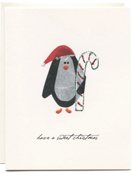 """ Sweet Christmas Wishes"" Penguin with Candycane"