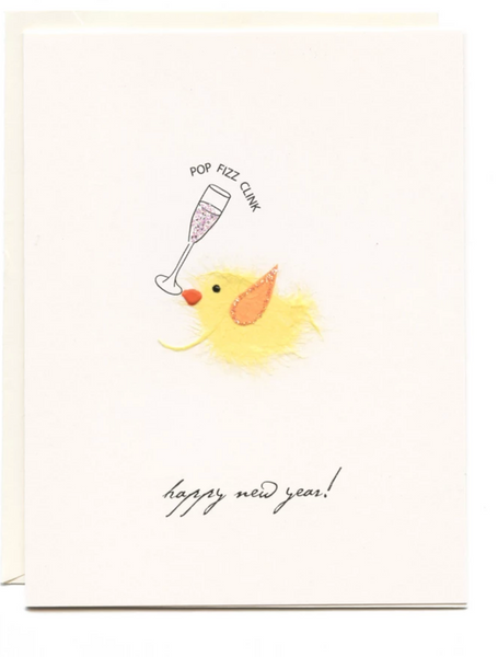 """Happy New Year"" Bird with Champagne"