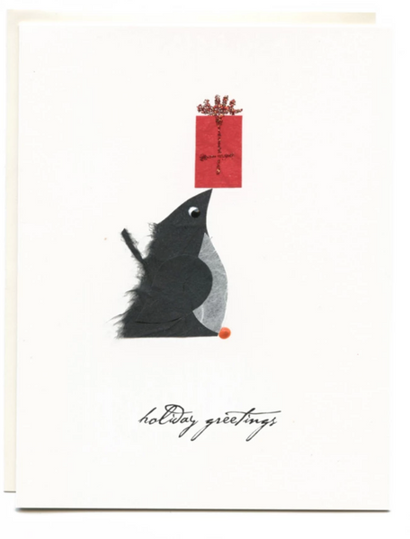 """Holiday Greetings"" Penguin with Present"