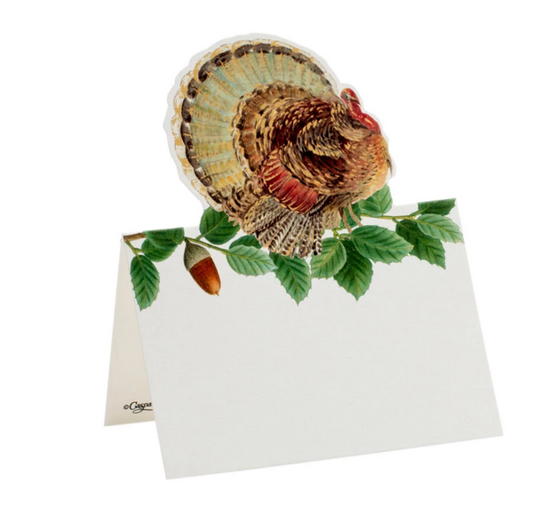 Turkey and Acorns Place Cards - 8 Per Package
