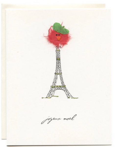 """Joyeux Noel"" Bird on Eiffel Tower"