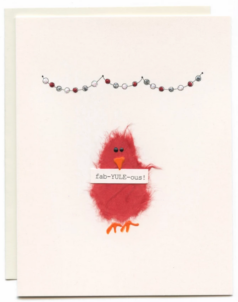 """Fab-YULE-ous"" Red Bird with Banner"