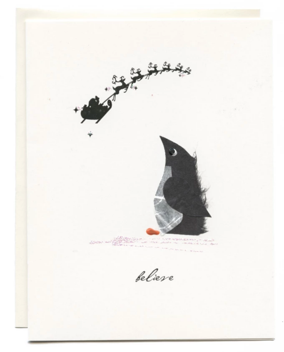 """Believe"" Penguin with Santa Sleigh"