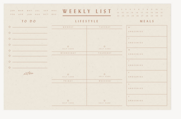 Weekly List Pad