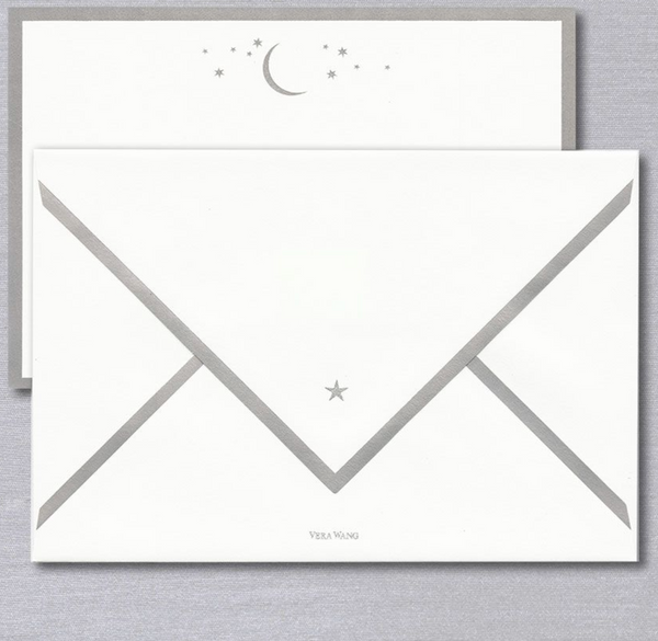Vera Wang Engraved Moon and Stars Card - 10 Cards/ 10 Bordered Envelopes