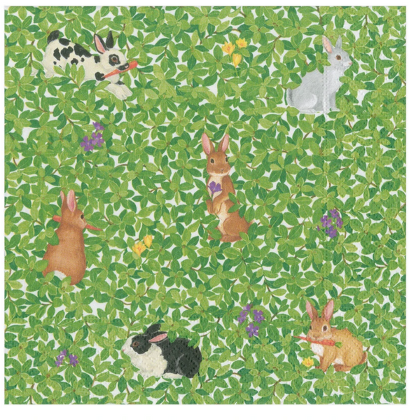 Bunnies and Boxwood Luncheon Napkins - 20 Per Package