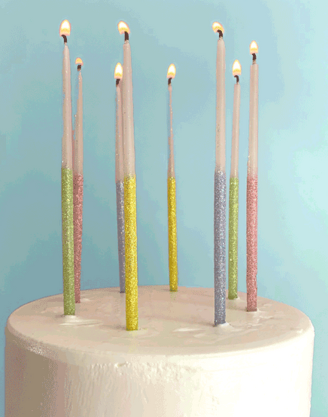 Single Glitter Beeswax Candles - Multicolor Happy Birthday