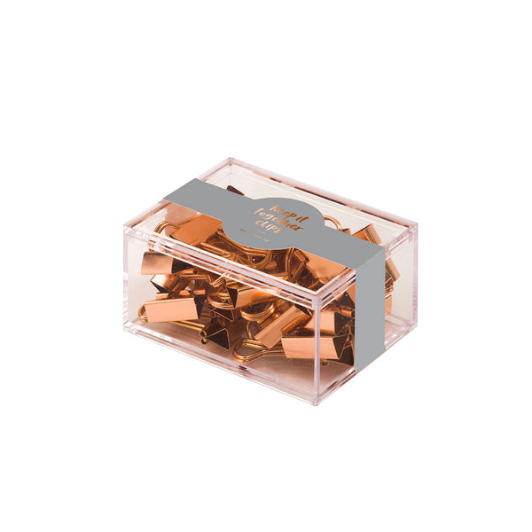 Copper Metallic mini binder clips - Box of 12