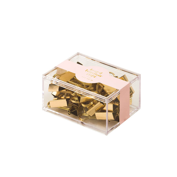 Gold Metallic mini binder clips - Box of 12