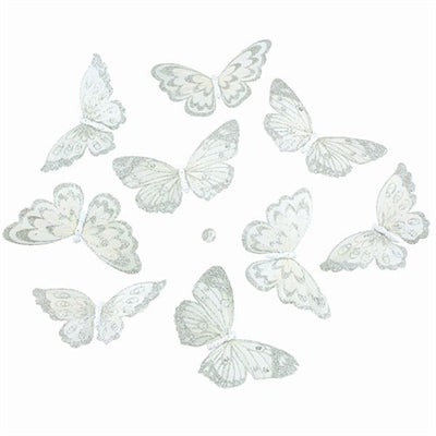 White With Silver Glitter Butterfly Garland