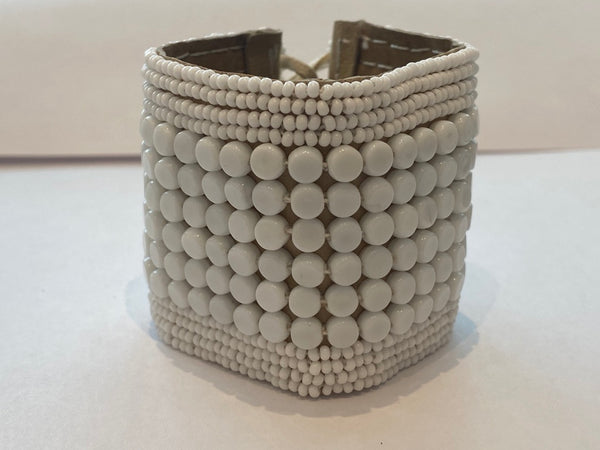 Sipolio Collection: Leather Multi Stripe Bracelet Cuff (White)